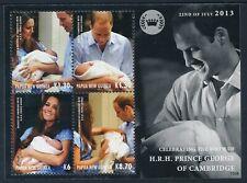 2013 PAPUA NEW GUINEA ROYAL BABY PRINCE GEORGE MINISHEET FINE MINT MNH