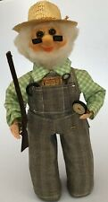 Vintage Grandpa Doll Hunting Compass Overall Beard Glasses Hat Cute Grandfather