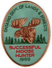 1969 Ontario Successful Moose Hunting Patch Michigan Bear Deer Turkey #1