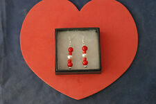 Nice Earrings With Red Agate And Pearls  3 Cm.Long + Silver Hooks In Display Box