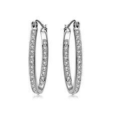Womens 9K Gold Filled Silver CZ Crystal Big Hoop Huggie Earrings Wedding Jewelry