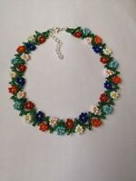 """Floral FLOWER seed daisy BEAD necklace weave multi coloured  BOHO 16""""-18"""" GLASS"""