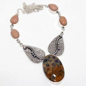 """Fossil Coral Strawberry Quartz 925 Silver Plated Necklace 17"""" GW"""