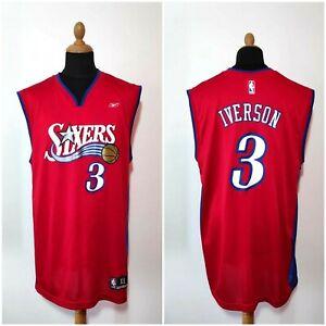 Vintage Allen Iverson #3 Jersey Reebok Sixers XL Red Blue Authentic Shirt 76ers