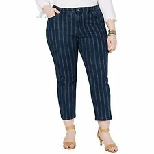 MSRP $70 Style & Co. Womens Plus Denim Pinstripe Ankle Jeans Navy Size 18W