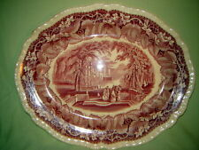 """Vintage 15"""" Gadroon Edge Oval Serving Platter in Vista Pink by Mason's"""