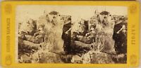 Italia Latomie Del Paradiso Syracuse c1865 Foto Sommer Stereo Vintage Albumina