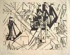 "LYONEL FEININGER Signed 1918 Original Woodcut - ""Marine"""