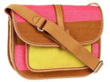 NWT FOSSIL SHAY WOVEN COTTON CANVAS FLAP SHOULDER BAG CROSSBODY PINK MULTI NEW