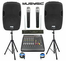 "Professional 2000W PA System 6 Channel Mixer 10"" Speakers Dual Wireless Mic"