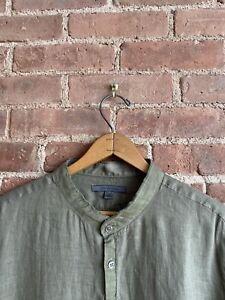 John Varvatos Collection Men's Shirt, 100% Linen, Sz Large Olive Green