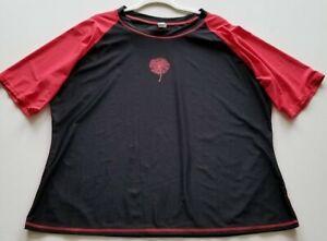 Women's Short Sleeve Activewear Tee T Shirt 2X Plus Black Crew Stretch Popover