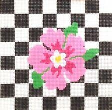 PINK FLOWER ON CHECKS HANDPAINTED NEEDLEPOINT CANVAS JULIA'S ON SALE