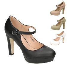 Damen Riemchen Pumps High Heels mit Blockabsatz Mary Jane Plateau Hochzeit 20
