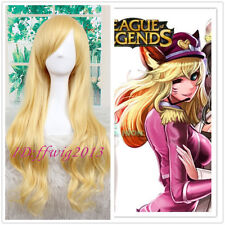 League of Legends Ahri Long Golden Blonde Anime Cosplay Wig +free wig cap