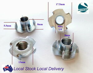 Qty 10 M6 6mm Zinc Plated Steel 4 Prong T  Nut Tee Blind Timber Wood Insert Nuts