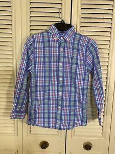 Vineyard Vines Whale Shirt Boys S (8-10) Blue/Multi Plaid Long Sleeve Button Up