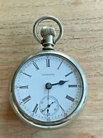 Antique 1891 PS Bartlett Waltham Pocket Watch Silver Plate Case 1883 18s 15j