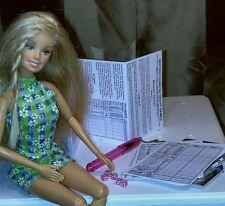 """Mini Yacht Yahtzee Game Set - Tiny Dice, Rules, Score Sheet fits Barbie 12"""" Doll"""