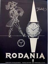 original 1956 vintage print ad RODANIA Swiss watch watchmaking MID CENTURY ART