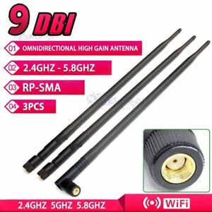 3X Wireless Antenna 9DBI RP-SMA 2.4G 5G Wi-Fi Booster For Router Network Pc