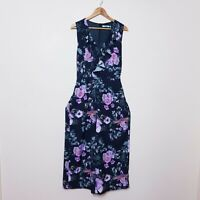 3rd Love Size 14 Black Floral One Piece Tie Up Waist Ruffle Jumpsuit