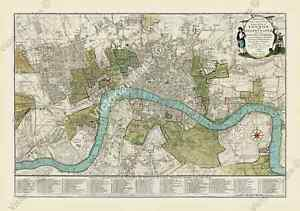 antique guide map early plan of London Westminster Bowles 1800 art print poster