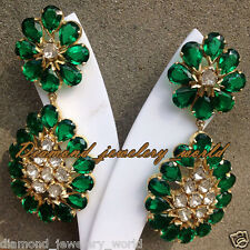 Silver Vintage Style Earring Jewelry 2.47cts Antique Cut Diamond Emerald Studded