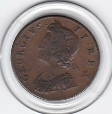 Very   Sharp   1730    King  George   II   Half  Penny   Copper  Coin