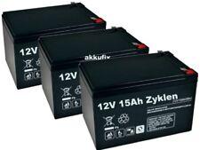 3 x AGM BLEI AKKU 12V 15Ah kompatibel 36V 12Ah für Elektroroller E-SCOOTER AERO