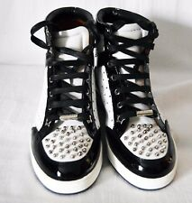 Jimmy Choo Tokyo White & Black Leather Studded High Top Sneakers Shoes Size 5.5