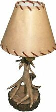 "Wilcor Rustic Single Antler Lamp With Deer Shade,18"" Tall"