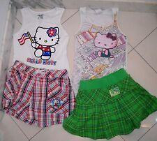 Girls $126 HELLO KITTY 6 Pc Lot Shorts Skort Tank Top Cap Patriotic US Flag L XL