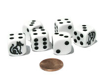 Set of 6 Cat Dice 16mm D6 Rounded Edge Koplow Animal Dice- White with Black Pips