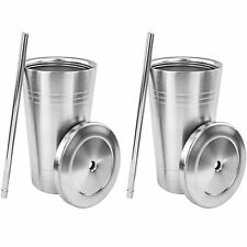 Stainless Steel Double Walled Insulated Cup W Straw Lid 20oz Tumbler No Spill x2