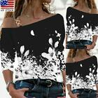 Womens Casual Floral Print T-shirt Ladies Long Sleeve Loose One Shoulder Tops US