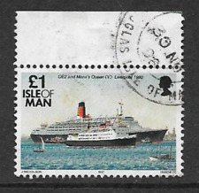 ISLE OF MAN POSTAL ISSUE USED STAMP - DEFINITIVE SHIPS, QE11 & MONA'S QUEEN 1993