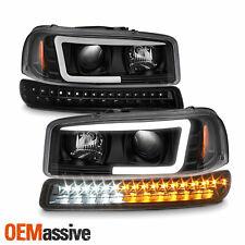 For 99-06 GMC Yukon Sierra Black LED Tube Projector Headlight + LED Bumper Light
