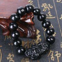 BlackPi Xiu Charms Bracelet  Feng Shui Attract Wealth Good Luck Obsidian Beads