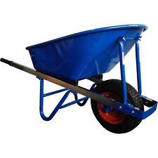 100L Extra Heavy Duty Builders Wheelbarrow 150mm Wide Pump Up Tyre Wheel Barrow