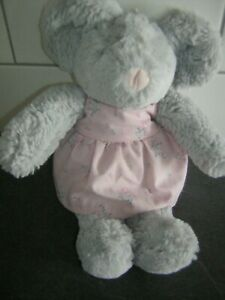 MOTHERCARE GREY MOUSE FLOWER DRESS SOFT TOY