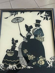 """Vtg REVERSE PAINTED SILHOUETTE Foil """"Butterfly Wings"""" VICTORIAN ART Wall Picture"""