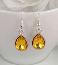 SMALL TEAR DROP SILVER/GOLD TONE RED, PINK, OR PURPLE FACETED CRYSTAL EARRINGS