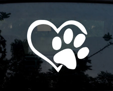 Heart & Paw Print Cat Pet Dog Car Decal / Sticker