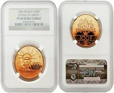 France 1986 Statue of Liberty 100 Francs Gold NGC PF-68 ULTRA CAMEO