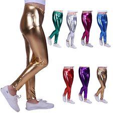Girls Shiny Wet Look Kids Liquid Metallic Footless Leggings