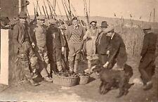 BL810 Carte Photo vintage card RPPC groupe pêcheur peche  chien dog