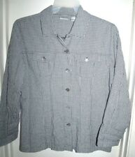 Chico's Black White Checked Button Front Long Sleeve Top Shirt Size 2 L 12