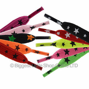1 Pair Skater Punk Emo Star Urban New Laces Trainers Sneakers Tennis Shoes
