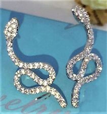 Silver CZ Micro Pave Serpent Snake CRYSTAL EARRINGS UK